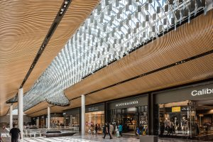 image of manufacture the architectural ceiling feature chandelier featured in the central mall area extension of Eastland Shopping Centre