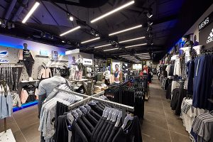 image of commercial lighting design and led products used in sports store
