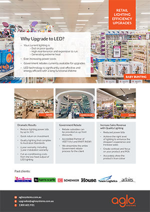 image brochure for lighting upgrades flier retail