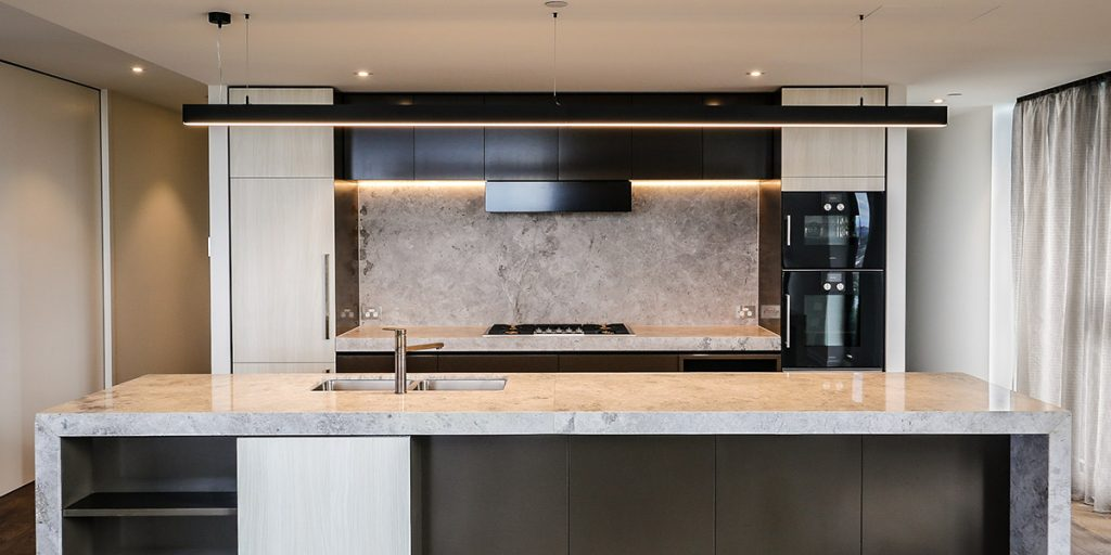 Strip lighting used in kitchen
