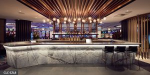 image of hospitality lighting over a bar area