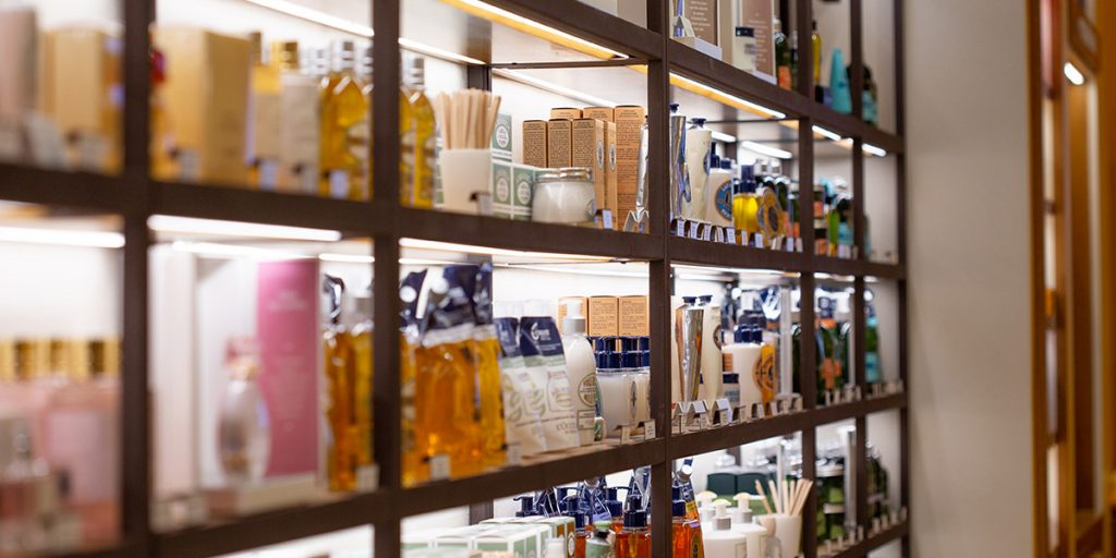 close up image of LED Strip lighting on shelves